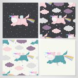 Unicorn cats and patterns set. Set of cute unicorn cats with a rainbow in the night sky and seamless patterns in vector. Animal character for design - postcards royalty free illustration