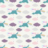 Unicorn cats seamless pattern. Cute cartoon unicorn cats in the sky, seamless pattern. Vector background with funny characters. Can be used for kids design royalty free illustration