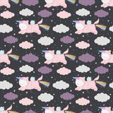 Unicorn cats seamless pattern vector. Cute cartoon unicorn cats in the night sky, seamless pattern. Vector background with funny animals. Can be used for kids stock illustration