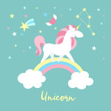 Unicorn character set. Cute magic collection with unicorn, rainbow, heart ,fairy wings and balloon. Catroon style vector Stock Image