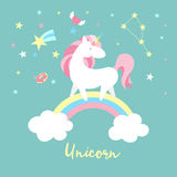 Unicorn character set. Cute magic collection with unicorn, rainbow, heart ,fairy wings and balloon. Catroon style vector Royalty Free Stock Photography