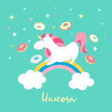 Unicorn character set. Cute magic collection with unicorn, rainbow, heart ,fairy wings and balloon. Catroon style vector. Unicorn on rainbow. Cute magic Stock Photos