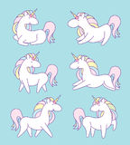 Unicorn character set. Cute magic collection with unicorn, rainbow, heart ,fairy wings and balloon. Catroon style vector Royalty Free Stock Image
