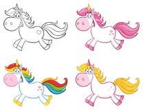 Unicorn Character Set mágico lindo 1 colección Fotografía de archivo