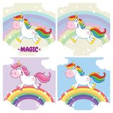 Unicorn Character Set mágico lindo 2 colección Fotografía de archivo