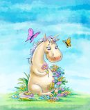 Unicorn on the clearing, against the sky. Funny unicorn wove a wreath of flowers in the clearing stock illustration