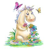 Unicorn on a clearing isolated on white. Funny unicorn wove a wreath of flowers in the clearing stock illustration