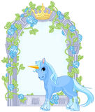 Unicorn close to flower frame Stock Images