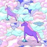 Unicorn and clouds illustration royalty free illustration