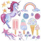 Unicorn Collection Aquarellgegenstände Lizenzfreies Stockfoto