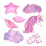 Unicorn collection. Watercolor objects. Unicorns decoration set, star,cloud,leaves,berries royalty free illustration
