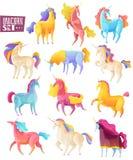 Unicorn Colored Set ilustração royalty free