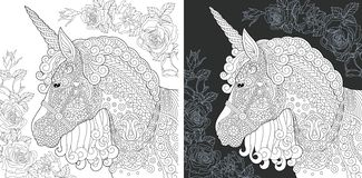 Unicorn Coloring Page. Unicorn. Coloring Page. Coloring Book. Colouring picture with fantasy horse drawn in zentangle style. Antistress freehand sketch drawing royalty free illustration