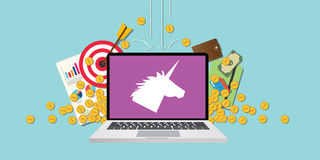 Unicorn company startup with laptop and money Stock Image
