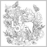 unicorn A composição consiste em um unicórnio cercado por um b Fotografia de Stock