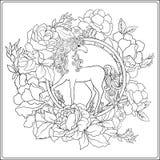 unicorn A composição consiste em um unicórnio cercado por um b Fotos de Stock Royalty Free