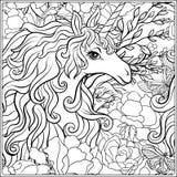 unicorn A composição consiste em um unicórnio cercado por um ramalhete das rosas Imagem de Stock Royalty Free