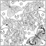 unicorn A composição consiste em um unicórnio cercado por um ramalhete das rosas Fotografia de Stock Royalty Free