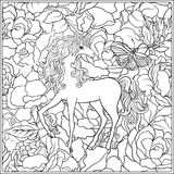 Unicorn. The composition consists of a unicorn surrounded by a bouquet of roses. Outline hand drawing coloring page for adult coloring book. Stock vector Stock Images