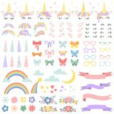 Unicorn constructor. Pony mane styling bundle, unicorns horn and party star glasses. Flowers, magic rainbow and head