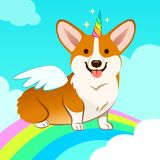 Unicorn corgi dog with horn and wings vector cartoon illustration. Cute corgi puppy in the sky with rainbow and clouds, smiling w. Ith tongue out. Humor, magic royalty free illustration