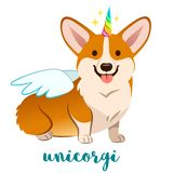Unicorn corgi dog with horn and wings vector cartoon illustration. Cute funny corgi puppy smiling with tongue out, isolated on. White. Humorous, magic, mythical vector illustration