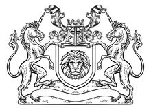 Free Unicorn Crest Heraldic Shield Coat Of Arms Royalty Free Stock Images - 116244269