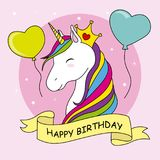 Unicorn with crown and balloons Royalty Free Stock Image