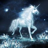 Unicorn and crystal field Royalty Free Stock Photography