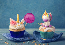 Unicorn cupcake. S for a party royalty free stock photography