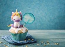Unicorn cupcake Stock Photo