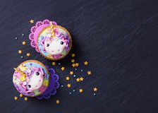 Unicorn cupcakes Royalty Free Stock Image