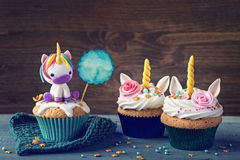 Unicorn cupcakes. For a party royalty free stock image
