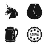 Unicorn, curl hair and other web icon in black style.electric kettle, Vintage icons in set collection. Royalty Free Stock Photos