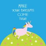 Unicorn Daisy-het kamillegebied maakt uw dromen waar komen Kalligrafische de inspiratieuitdrukking van de citaatmotivatie Royalty-vrije Stock Afbeeldingen