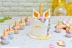 Unicorn decoration for party royalty free stock image