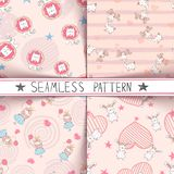 Unicorn, deer, girl, rabbit - seamless pattern stock illustration