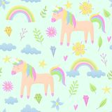 Unicorn design set with clouds and rainbow. Stipple design Stock Photography