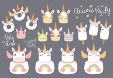 Unicorn dessert big set vector illustration