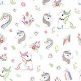 Unicorn, diamond and flower seamless pattern hand drawing isolated on white background vector illustration