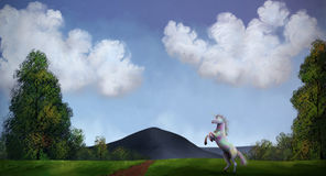 Unicorn - Digital Painting. Illustration of a unicorn roaming under a cloudy sky Royalty Free Stock Image