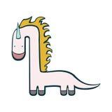 Unicorn dinosaur pretty funny creature. Unicorn dinosaur pretty funny imagination character Royalty Free Stock Photo