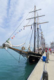 Unicorn at Dock at Navy Pier. May be used to advertise for tall ships exhibit at Navy Pier stock images