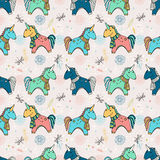 Unicorn doodle cartoon over sky pattern Royalty Free Stock Photo