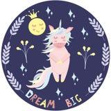 Unicorn dreams - vector illustration, eps vector illustration