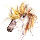 unicorn Einhornaquarellillustration Magisches Einhorn Stockfotos