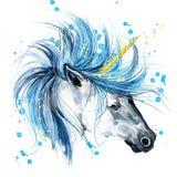 unicorn Ejemplo de la acuarela del unicornio Unicornio mágico Imagen de archivo libre de regalías