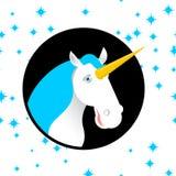 Unicorn fabulous beast with horn. Magic animal with round. Fanta Royalty Free Stock Images