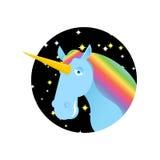 Unicorn fabulous beast with horn. Magic animal with round. Fanta Royalty Free Stock Image