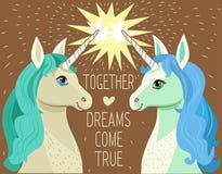 Unicorn Face Beeldverhaalvector Motivatiekaart met Sterren Stock Fotografie